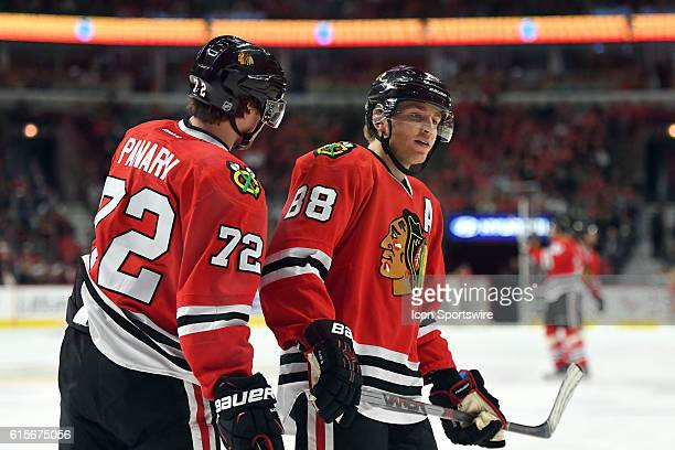 Chicago Blackhawks Left Wing Artemi Panarin [7873] and Chicago Blackhawks Right Wing Patrick Kane [6040] in action during a game between the Chicago...