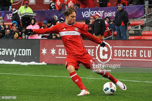 Chicago Fire defender Michael Harrington clears the ball during a game between the Philadelphia Union and Chicago Fire at Toyota Park in Bridgeview IL