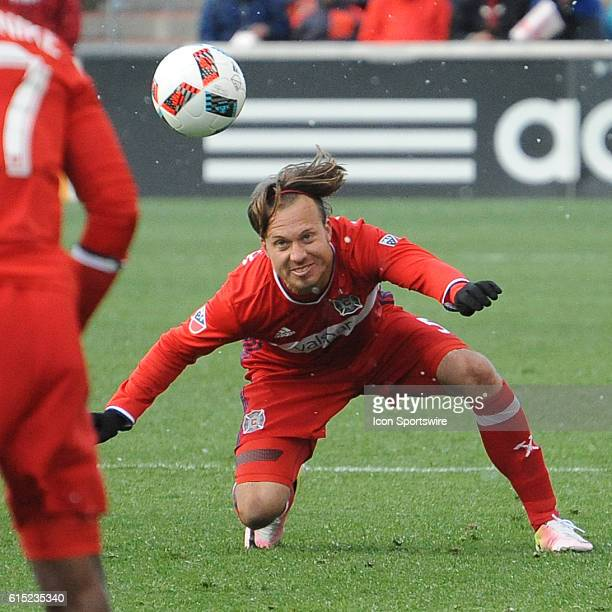 Chicago Fire defender Michael Harrington heads the ball during a game between the Philadelphia Union and Chicago Fire at Toyota Park in Bridgeview IL