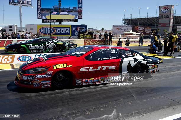 Chris McGaha Chevrolet Camaro NHRA Pro Stock and Erica EndersStevens Dodge Dart NHRA Pro Stock participate in the DENSO Spark Plugs NHRA Nationals at...