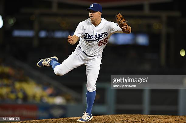 Los Angeles Dodgers Pitcher Joe Blanton [4665] during an MLB game between the San Diego Padres and the Los Angeles Dodgers at Dodger Stadium in Los...