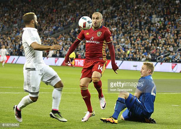 Real Salt Lake forward Yura Movsisyan reacts after a save by Sporting Kansas City goalkeeper Tim Melia in a match between Real Salt Lake and Sporting...