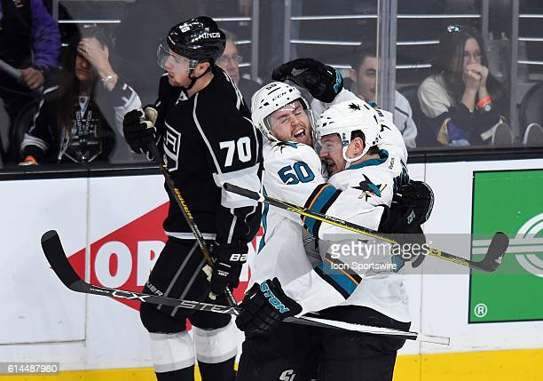 San Jose Sharks Center Chris Tierney [9606] celebrates scoring their second goal of the game in the first period with San Jose Sharks Right Wing...
