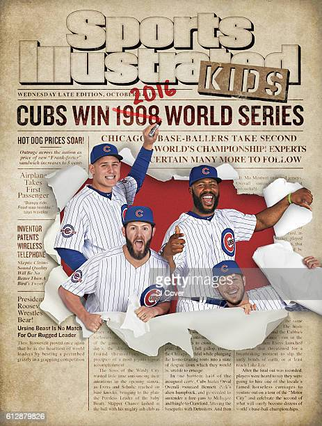 April 2016 Sports Illustrated via Getty Images Kids Cover MLB Season Preview Casual portrait of Chicago Cubs Anthony Rizzo Jake Arrieta Jason Heyward...