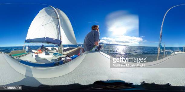 april 2017, able tasman national park, new zealand. a  360 view of a beautiful afternoon for a sailing trip on a catamaran through the national park. - 全天周パノラマ ストックフォトと画像