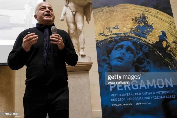 April 2018, Germany, Berlin: Artist Yadegar Asisi explaing at the press conference his exhibition project 'Pergamon. Masterworks of the ancient...