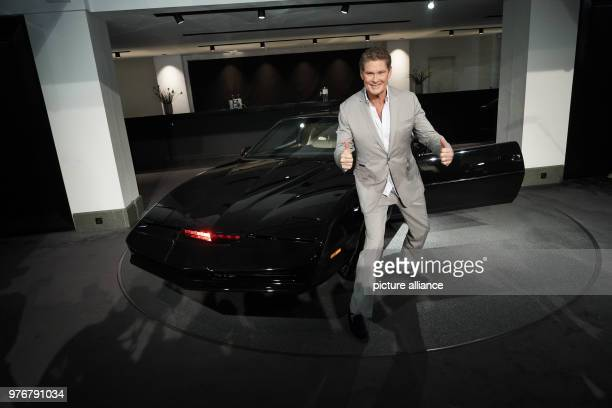 David Hasselhoff American singer and actor poses in front of his legendary sports car 'KITT' from the series 'Knight Rider' for his Germany Tour Kick...