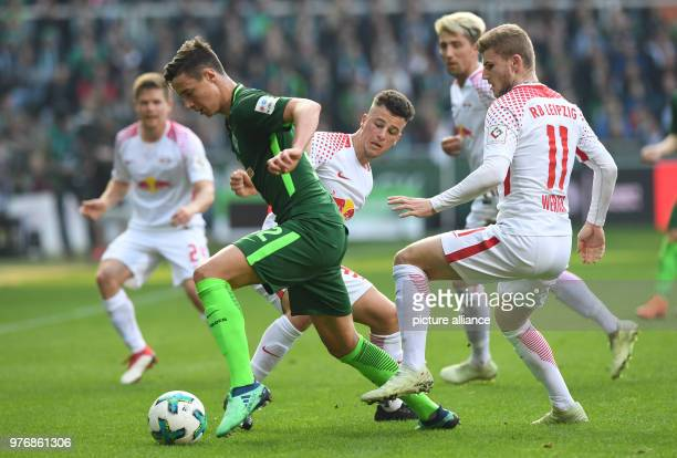 Football German Bundesliga Werder Bremen vs RB Leipzig at the Weserstadion Werder's Marco Friedl vies for the ball with Leipzig's Timo Werner and...