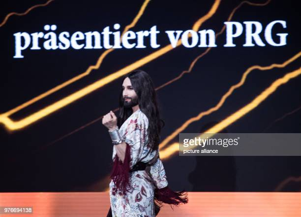 09 April 2018 Germany Frankfurt am Main Conchita Wurst Austrian singer holds an honorary speech during the award ceremony The PRG Live Entertainment...
