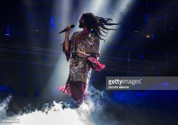 09 April 2018 Germany Frankfurt am Main Conchita Wurst Austrian singer performs on stage The PRG Live Entertainment Award takes place in the...