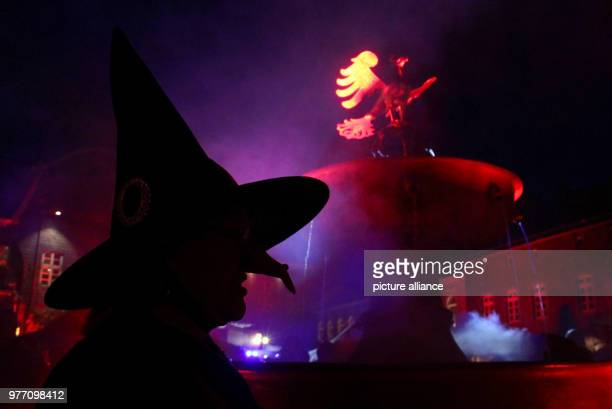 Margot Thiehove dressed as a witch and standing on the marketplace during the Walpurgis Night celebrations Photo AnneSophie Galli/dpa