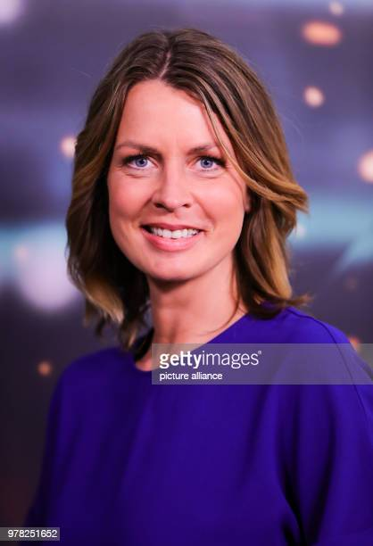 April 2018, Germany, Hamburg: ARD host for the soccer world cup 2018 in Russia, Jessy Wellmer, at a photo shoot before a press conference by ARD and...