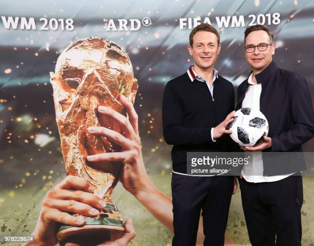 Alexander Bommes and Matthias Opdenhoevel ARD presenters for the soccer World Cup 2018 in Russia during a photocall prior to a press conference of...