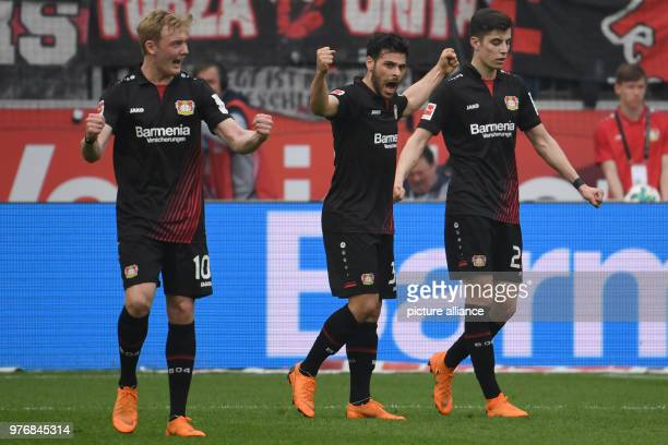 Soccer Bundesliga Bayer Leverkusen vs Eintracht Frankfurt at the BayArenaLeverkusen's Julian Brandt goal scorer Kevin Volland and Kai Havertz...