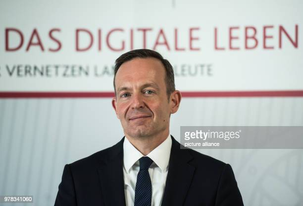 Minister of Economy Volker Wissing of the Free Democratic Party looking ahead during a presentation of the digitalization strategy The state...