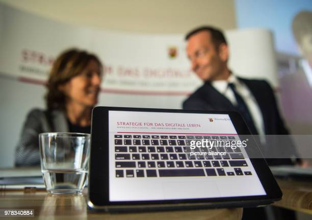 Premier of RhinelandPalatinate Malu Dreyer of the Social Democratic Party and Minister of Economy Volker Wissing of the Free Democratic Party looking...