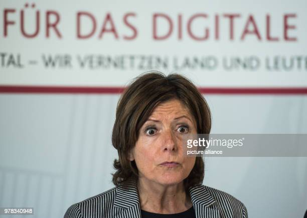 Premier of RhinelandPalatinate Malu Dreyer of the Social Democratic Party looking ahead during a presentation of the digitalization strategy The...