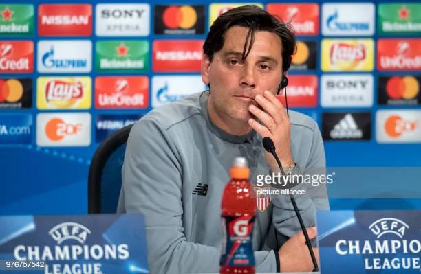 Soccer Champions League Bayern Munich vs FC Sevilla Press conference of FC Sevilla at the Allianz Arena FC Sevilla's coach Vincenzo Montella speaks...
