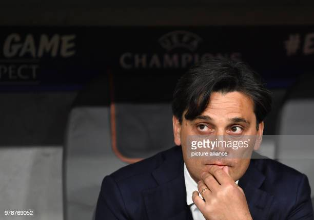 11 April 2018 Germany Munich SoccerChampions League Bayern Munich vs FC Sevilla KO Round Quarterfinal return match at Allianz Arena Sevilla's coach...