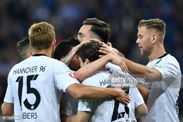 Soccer bundesliga 1899 Hoffenheim vs Hannover 96 in the RheinNeckar arena Hannover's goalscorer Kenan Karaman celebrating the goal that made it 11...