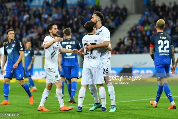Bundesliga 1899 Hoffenheim vs Hannover 96 in the Rhein Neckar Arena Hannover's Kenan Karaman and teammates celebrating his scoring of the 11...