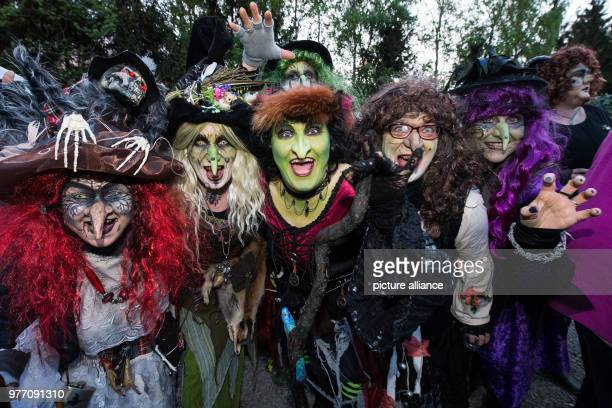 30 April 2018 Germany Wolfshagen Im Harz people dressed as witches posing before an attempt at a world record in witch dances The traditional...