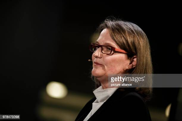 April 2018, Germany,Berlin: Artistic director Andrea Zietzschmann speaking at the press conference at the Berlin philharmonic orchestra regarding...
