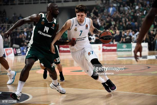 Basketball Euroleague Panathinaikos Athen vs Real Madrid Real Madrid's Luca Doncic in action against Panathinaikos' James Gist Photo Angelos...