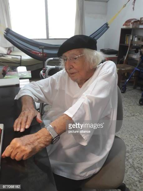 Poet and priest Ernesto Cardenal sits in his room in Managua Cardenal told the press that there is to be 'No dialogue' between the president Daniel...