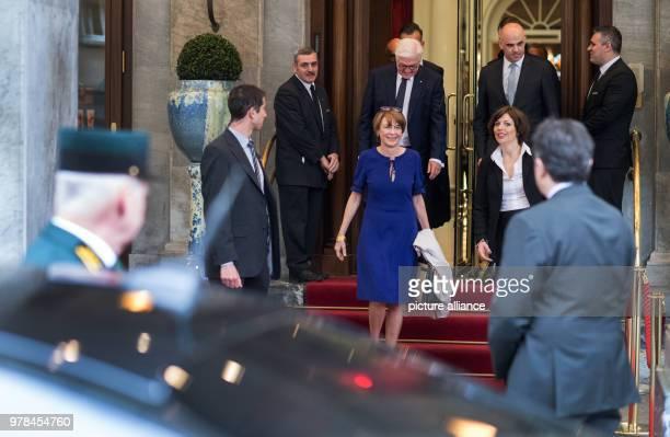 German President FrankWalter Steinmeier his wife Elke Buedenbender Swiss President Alain Berset and his wife Muriel Zeender Berset leave a hotel and...
