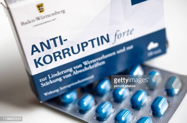 17 April 2019 BadenWuerttemberg Stuttgart A box of anticorruptine tablets is lying on a table In the course of its prevention activities the State...