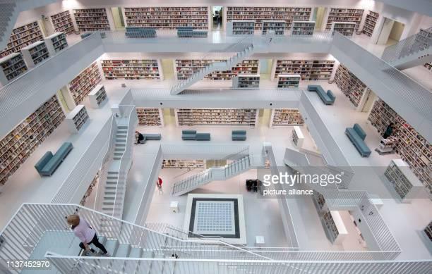 April 2019, Baden-Wuerttemberg, Stuttgart: Bookshelves can be seen in the Stadtbibliothek Stuttgart. The Stadtbibliothek Stuttgart as an...