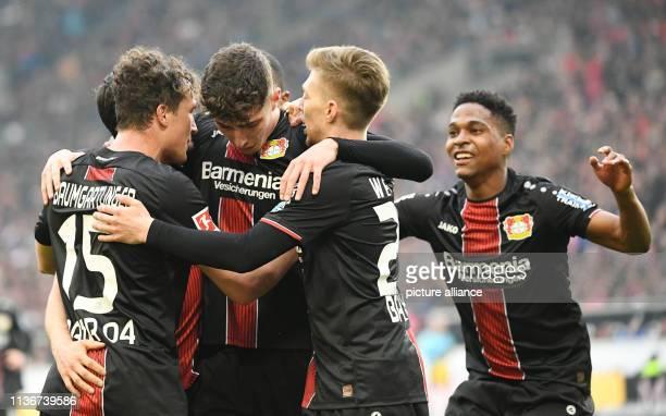 13 April 2019 BadenWuerttemberg Stuttgart Soccer Bundesliga VfB Stuttgart Bayer Leverkusen 29th matchday in the MercedesBenz Arena Leverkusen's...
