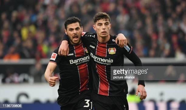 13 April 2019 BadenWuerttemberg Stuttgart Soccer Bundesliga VfB Stuttgart Bayer Leverkusen 29th matchday in the MercedesBenz Arena Leverkusens Kevin...