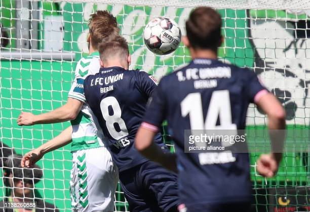 Soccer 2nd Bundesliga SpVgg Greuther Fürth 1st FC Union Berlin 30th matchday at the Sportpark Ronhof Thomas Sommer Joshua Mees from Union Berlin...
