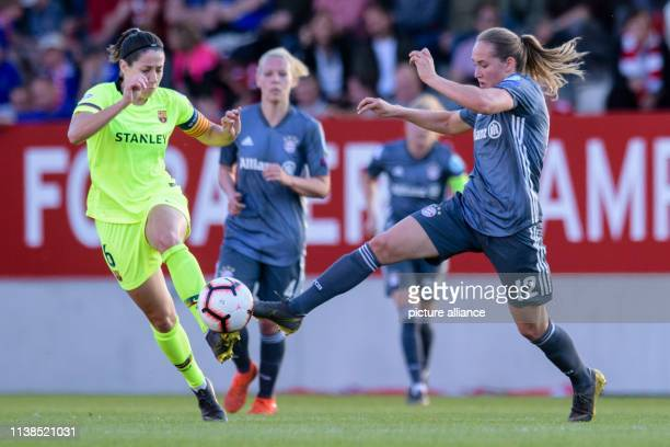 Football women Champions League Bayern Munich FC Barcelona knockout round semifinal first leg on the FC Bayern campus Vicky Losada from Barcelona and...