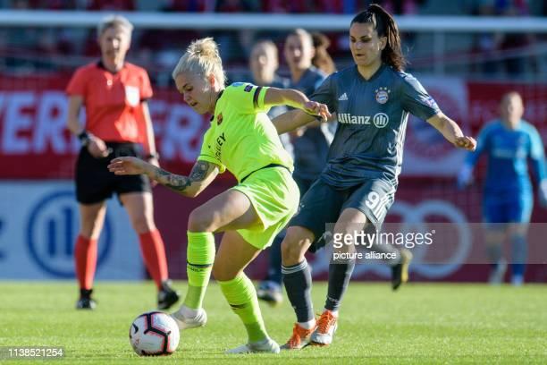 Football women Champions League Bayern Munich FC Barcelona knockout round semifinal first leg on the FC Bayern campus Maria Pilar Leon Cebrian of...