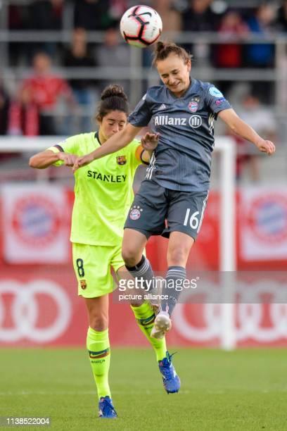 Football women Champions League Bayern Munich FC Barcelona knockout round semifinal first leg on the FC Bayern campus Marta Torrejon from Barcelona...