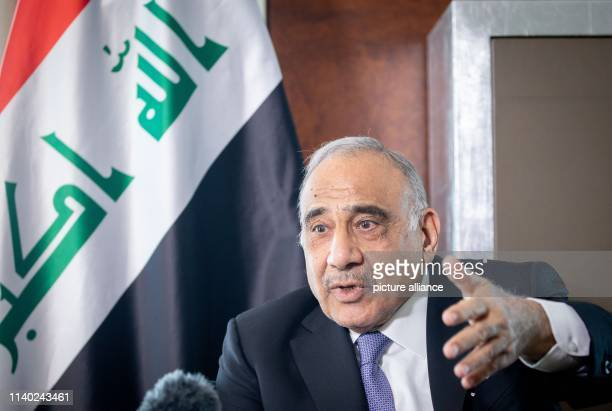 April 2019, Berlin: Adel Abdel Mahdi, Prime Minister of Iraq, speaks in an interview with a journalist of the German Press Agency. Photo: Kay...