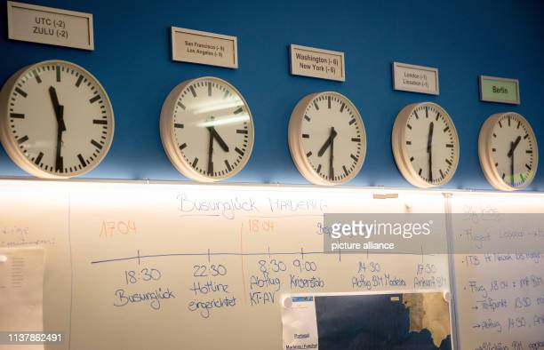 Clocks in the crisis staff of the Federal Foreign Office indicate the different time zones Below is a timeline to the situation after the bus...