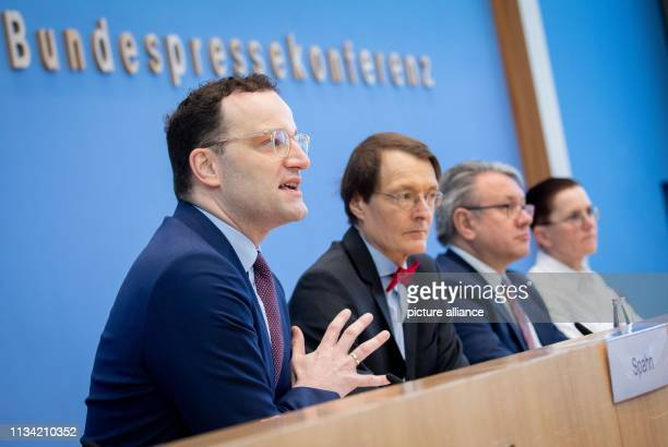 April 2019, Berlin: Jens Spahn , Federal Minister of Health, Karl Lauterbach, Deputy Chairman of the SPD Parliamentary Group in the Bundestag, Georg...