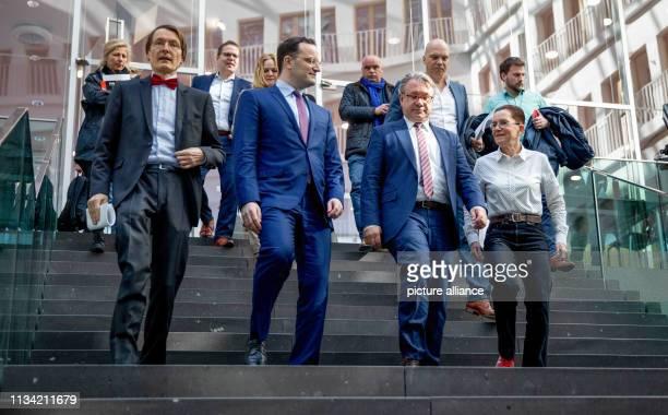 April 2019, Berlin: Karl Lauterbach , deputy chairman of the SPD parliamentary group, Jens Spahn , Federal Minister of Health, Georg Nüßlein , Karl...