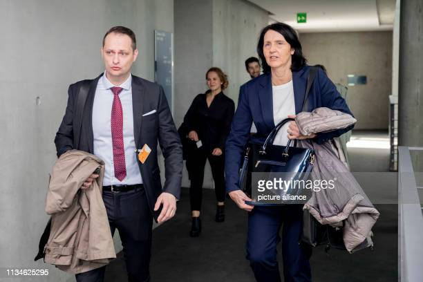 April 2019, Berlin: Lars Mortsiefer and Andrea Gotzmann, both Chairmen of the Executive Board of the German Anti-Doping Agency , attend a meeting of...
