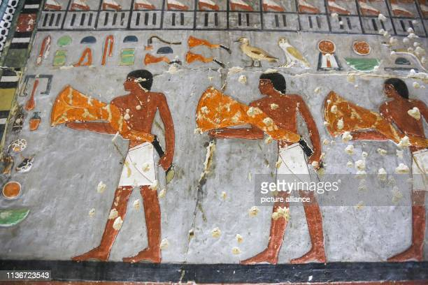 Ancient Egyptian drawings are seen on the walls of the newly discovered 4500yearold tomb that belongs to Khoi a nobility of the Fifth Dynasty of...