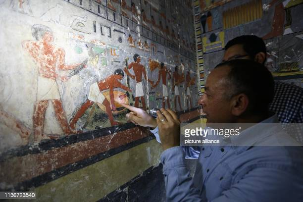 Secretary General of the Supreme Council of the Egyptian Antiquities Mustafa Wazir and Head of the Egyptian archaeological discoveries in Saqqara...