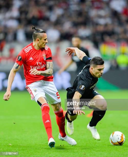 Soccer Europa League Eintracht Frankfurt Benfica Lisbon knockout round quarter finals return match in the Commerzbank Arena Lisbon's Ljubomir Fejsa...