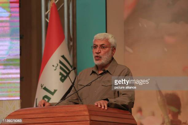 April 2019, Iraq, Baghdad: Iraqi-Iranian military commander of the Popular Mobilization Forces Abu Mahdi al-Muhandis speaks during a conference...