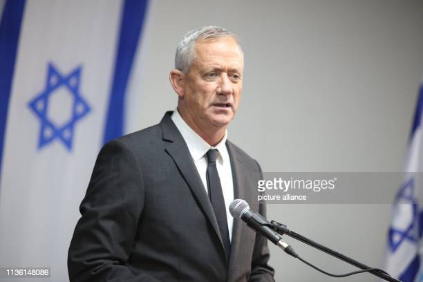 Benny Gantz head of the Blue and White Political alliance speaks during a press conference with Yesh Atid party leader Yair Lapid who admitted that...