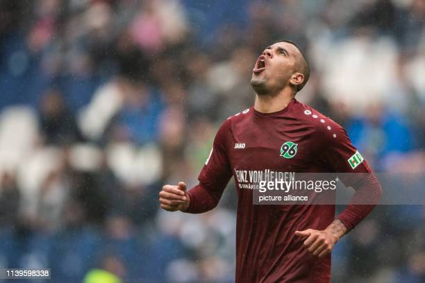 Soccer Bundesliga Hannover 96 FSV Mainz 05 31st matchday in the HDI Arena Hanover's Jonathas screams for a missed chance Photo Swen Pförtner/dpa...