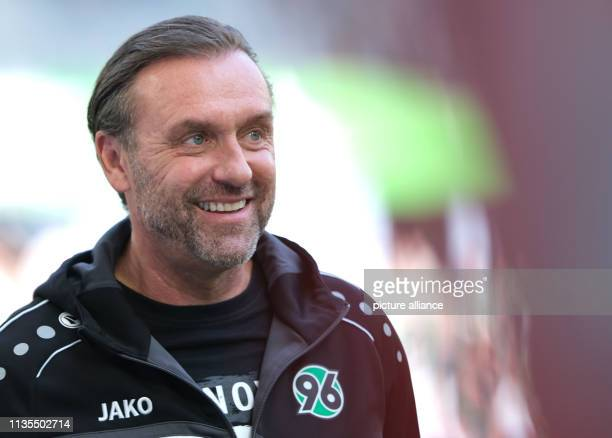 Soccer Bundesliga 28 Matchday VfL Wolfsburg Hannover 96 in the Volkswagen Arena Hanover's coach Thomas Doll is in the arena before the game Photo...